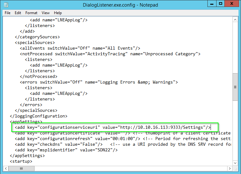 Skype for Business Dialog Listener Config File