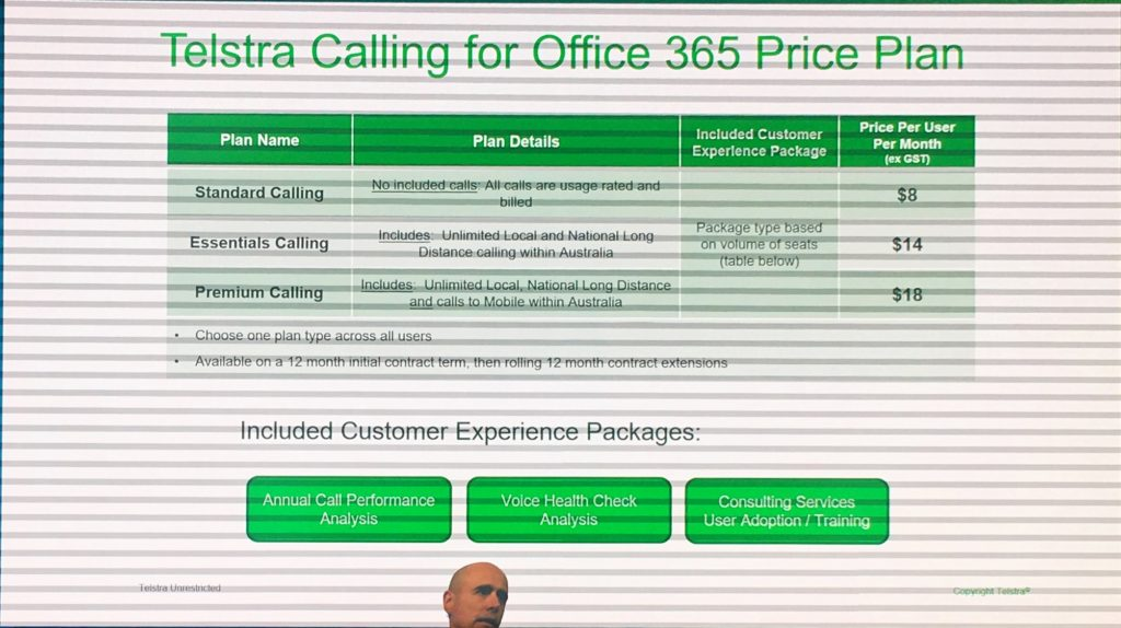 Telstra Calling for Office 365 Price Plan - Photo from Announcement Slide Deck