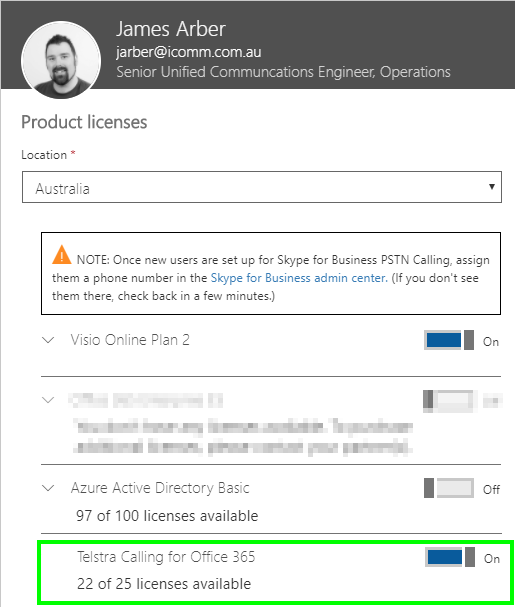 Screenshot of Product Licenses for Telstra Calling for Office 365