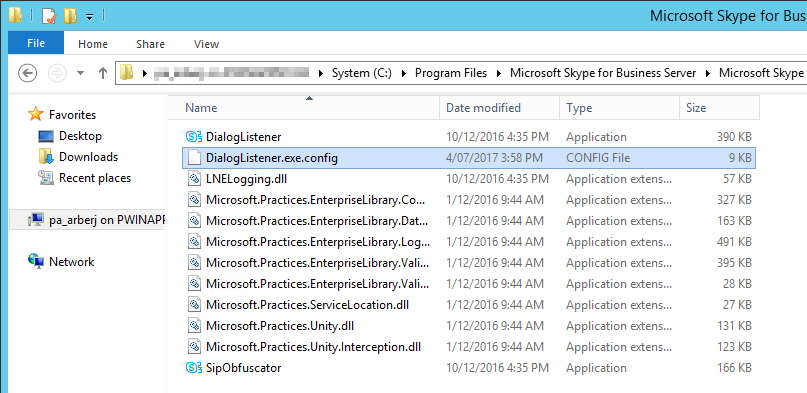 Skype for Business Dialog Listener config file location