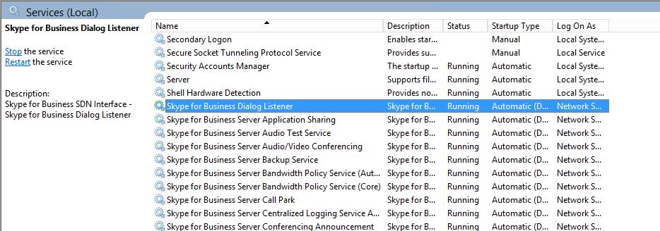 Restart the SDN Listener Service